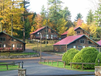 Outside Chalet cabins at Ridin-Hy Ranch Resort.