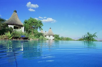 Exterior view of Lake Manyara Serena Lodge.