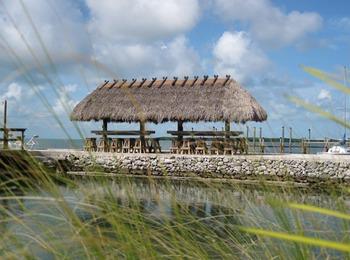 Cabana and beach at Coral Bay Resort.