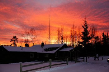 Sunset over lodge at Golden Eagle Lodge.