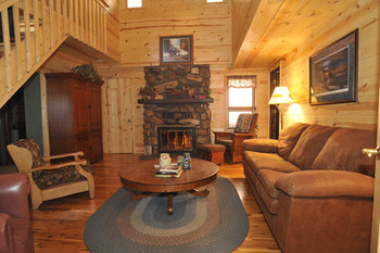 Cabin living room at Silver Mountain Resort and Cabins.