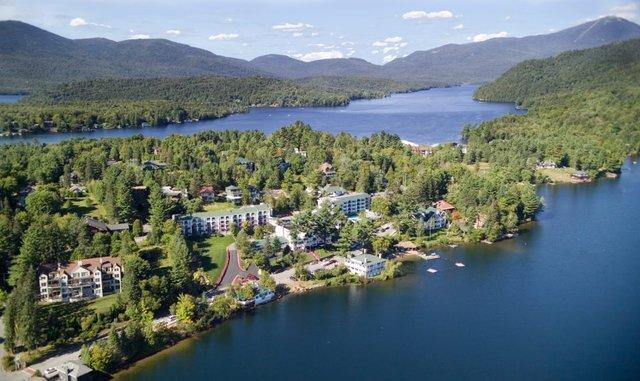 Aerial view of Mirror Lake Inn Resort & Spa.