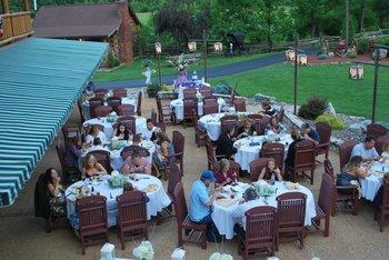 Outdoor wedding dining at Smoke Hole Caverns & Log Cabin Resort.