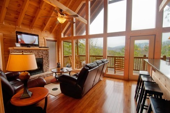 Cabin living room at Accommodations by Parkside Resort.