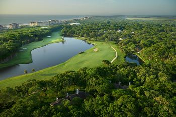 Aerial view of golf course at Omni Amelia Island Plantation.