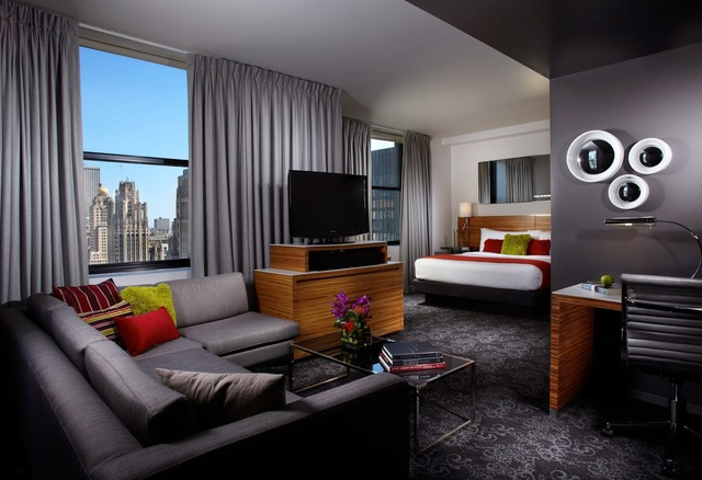 Guest room at Hard Rock Hotel Chicago.