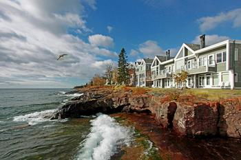 Resort view at Bluefin Bay on Lake Superior.
