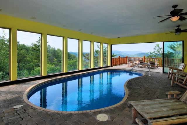 Private indoor swimming pool at The Cabin Rental Store.