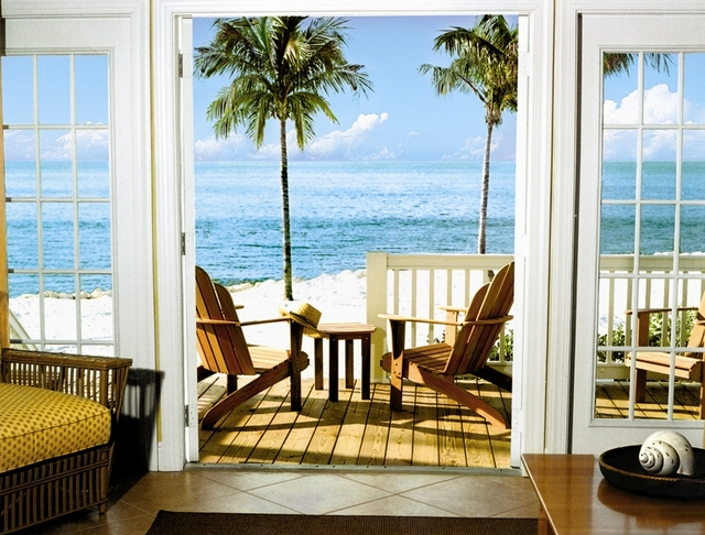 Beach house porch at Tranquility Bay Beach House Resort.