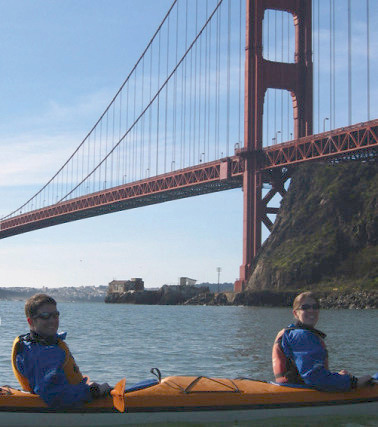 Kayaking near the San Francisco Bridge near Cavallo Point Lodge.