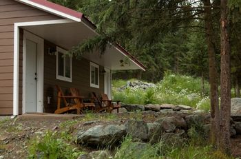 Guest cabins at Tod Mountain Ranch.