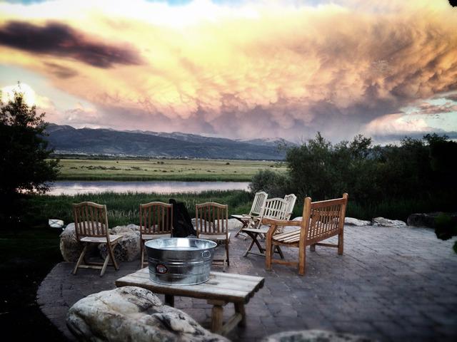 Deck view at Teton Valley Lodge.