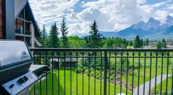 Balcony view at Grande Rockies Resort.