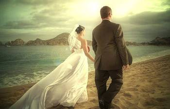 Wedding Couple at Pueblo Bonito Sunset Beach