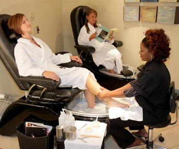 Pedicure at the spa at The Shawnee Inn and Golf Resort.