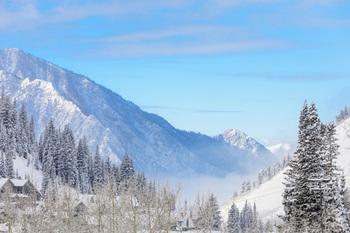 Alta, Utah mountain range at Alta's Rustler Lodge.
