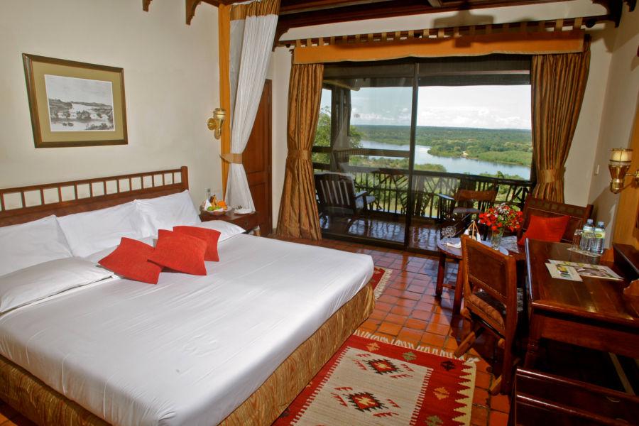 Guest room at Paraa Safari Lodge.