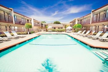 Outdoor pool at Anaheim InnSuites Hotel & Suites in Buena Park.