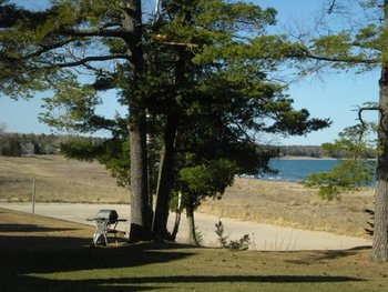 Picnic tables at Glidden Lodge Beach Resort.