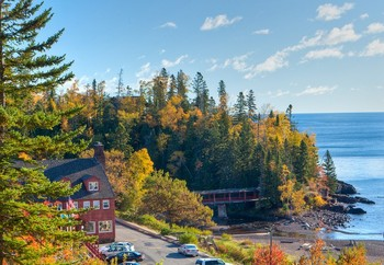 Exterior View of Lutsen Resort on Lake Superior