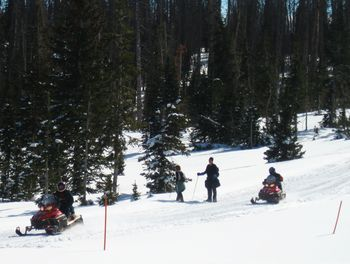Skiing and snowmobiling at Color Country Motel.