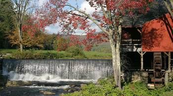 Cafe waterfall near The Inn at Weston.