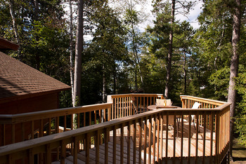 Cabin deck at Black Pine Beach Resort.