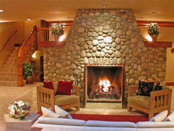 Fireplace suite at Banff Caribou Lodge.