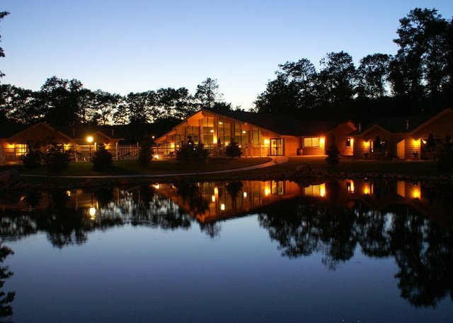 Nighttime view of Kavanaugh's Sylvan Lake Resort.