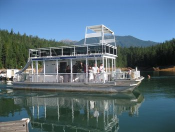 Houseboat exterior at Trinity Lake.