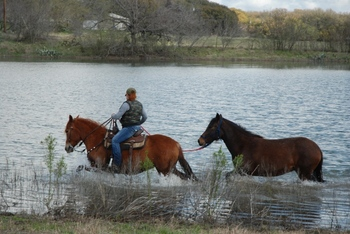 Horseback riding at  Fredericksburg Ranch.