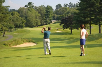 Playing on the greens at The Grove Park Inn Resort & Spa.