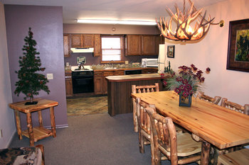 Guest kitchen and dining area at Fawn Valley Inn.