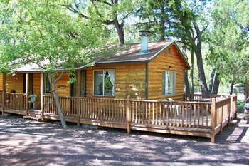 Exterior cabin view at Lazy Oaks Resort.