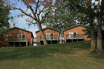 Cabin exteriors at White Wing Resort on Table Rock Lake.