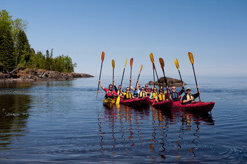 Kayaking at Lutsen Resort on Lake Superior.