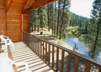 Cabin deck view at Idaho Cabin Keepers.