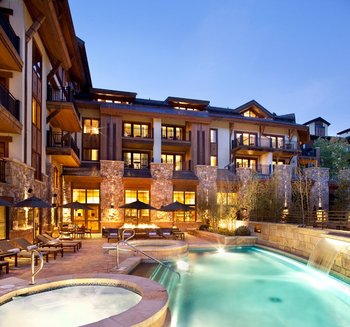 Outdoor pool and hot tub at The Sebastian Vail.