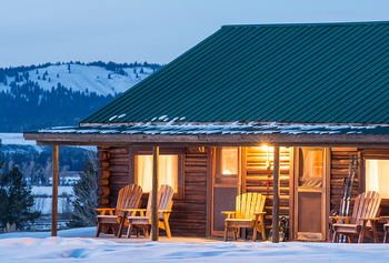 Cabin exterior at Triangle X Ranch.
