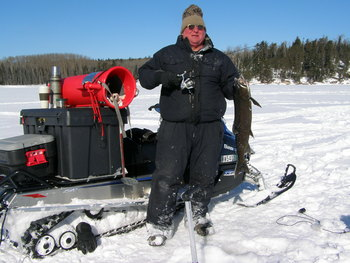 Ice fishing at Scott's Peaceful Valley Resort.