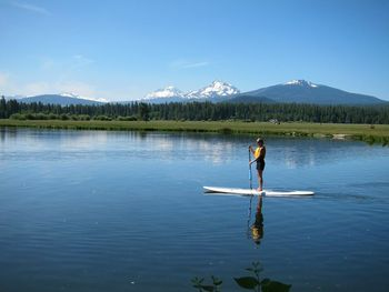 Paddle boarding at Black Butte Ranch.