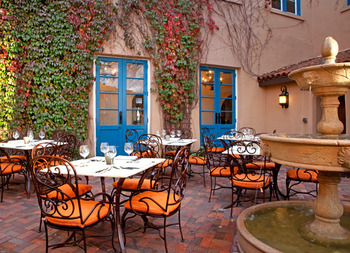 Garden patio at Hotel St. Francis.