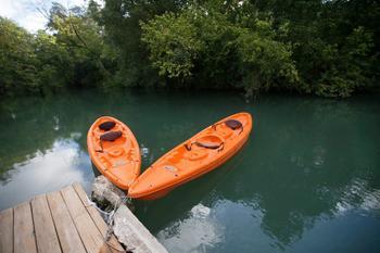 Kayaking at Geronimo Creek Retreat.