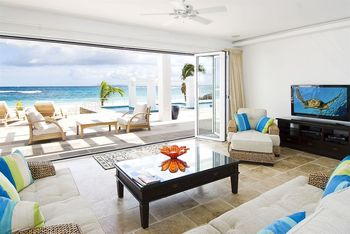 Vacation rental living room at Coral Beach Club.