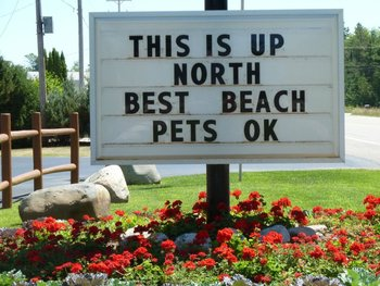Outdoor sign at The Beach House.