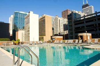 Outdoor pool at Doubletree Hotel Chicago Magnificent Mile.