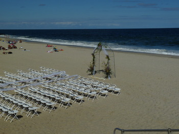 Beach wedding at Bungalow Hotel.