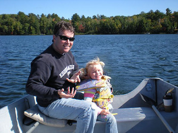 Family fishing at North Country Vacation Rentals.