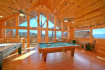 Cabin game room at SmokyMountains.com.