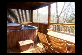 Cabin deck at Mountain Shadows Resort.